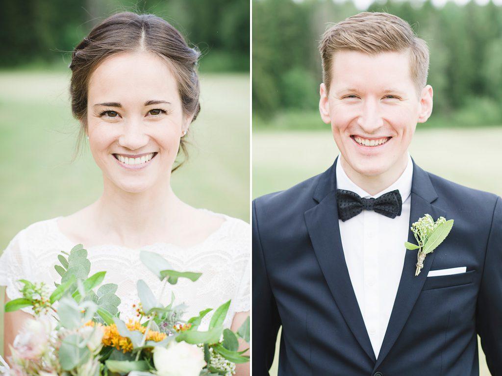 Porträtt under bröllopsfotografering
