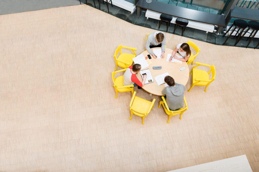 Ungdomar som studerar tillsammans på ett bibliotek